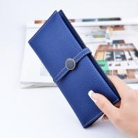 Belt Buckle Ladies Long Type Leather Clutch Wallet With Thin Body Simple Design Manufactures