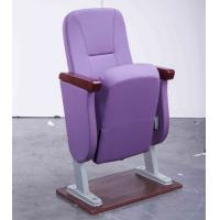China Embroidered Logo Accent Church Hall Chairs With Armrest Rubber Wood Material on sale
