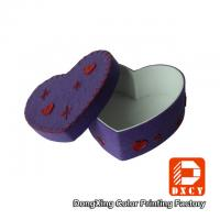 Quality Cotton Fabric Cardboard High Gloss Gift Boxes Small Purple Heart Shape for sale