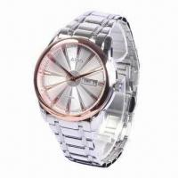 Metal Watch with Stainless Steel Material, Day/Date Features, Water-resistant Manufactures
