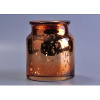 Large capacity 20oz coloured glass candle holders , mercury rose gold glass candle jar Manufactures