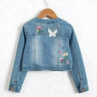 China Fashion Design Embroidery Kids Denim Clothes / Jeans Jacket For Girls on sale