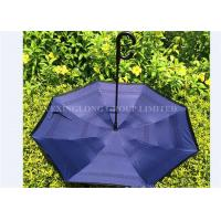 190T Pongee Fabric C Hook Reverse Folding Umbrella Black Outside And Custom Inside