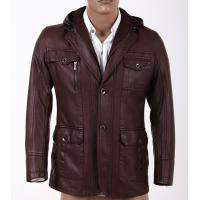 Customized Size 52, Size 54, Casual, Big and Tall, Black / Dark Red Hooded PU Leather Coat Manufactures