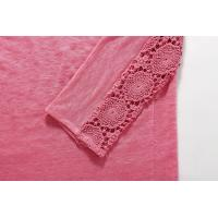 Quality Pink Cotton Lace T Shirt Casual Ladies Clothing 3 / 4 Sleeve for sale