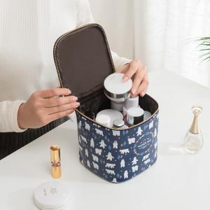 Metal Zipper PU Leather Cylinder Bucket Makeup Bag Case Manufactures