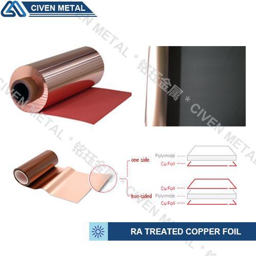 Quality Red / Black Fatigue Resistance Treated Ra Copper Foil 12um 18um 25um for sale
