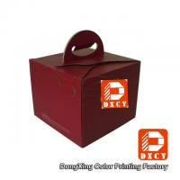 Quality Recycled Cardboard 6 Inch Cake Packaging Boxes , Red Handmade Cake Box With Handle for sale