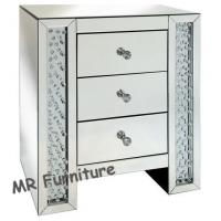 Crystal Diamond Design Mirrored Chest of Drawer Bed Side Table Manufactures