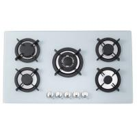 Milk White Tempered Glass Gas And Electric Hob , 5 Ring Gas Cooker 900*510mm Manufactures