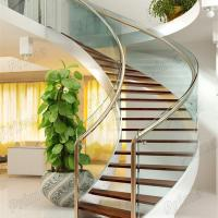 Modern Design Interior curved staircase with tempered glass railing Manufactures
