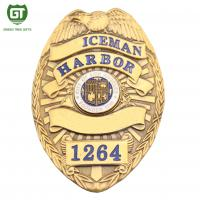 Gold Plating HPD Zinc Alloy 3d police badge with gold plating Manufactures