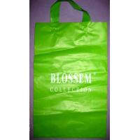 Green HDPE Soft Loop Handle Bag With Side Gusset For Shopping Manufactures