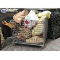 China Heavy Duty Wire Mesh Pallet Cages Galvanized Cold Drawn Steel Foldable Basket on sale
