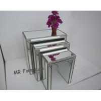 Interior Mirrored Glass Side Table , Living Room Silver Mirror Side Table Manufactures