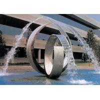 Double Arc Large Stainless Steel Water Features For Pools Brushed Finishing Manufactures