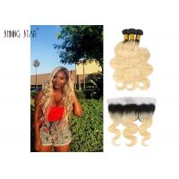 Indian Hair Bundles Straight 1B 613 Bundles With Frontal Honey Blonde Ombre Bundle With Frontal Manufactures