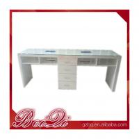 Buy cheap Cnd Shellac Grey Leather Double Antique Nail Dryer Table Salon Manicure With Fan from wholesalers