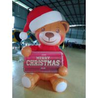 Cute Inflatable Polar Bear Christmas With Warning Sign And Air Pump For Advertising Manufactures