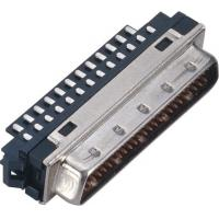 Male 1.27*2.54 Pitch Computer Pin Connectors SCSI 50 Pin Connector With Welded Steel Custom Manufactures
