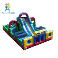Quality Yellow and blue basic training commercial bounce inflatable obstacle course slide for sale