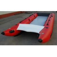 Red Hand Crafted High Speed Inflatable Boats Racing Catamaran Boat With 450cm Length Manufactures