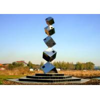 Buy cheap Polished Large Garden Sculptures Metal , Cube Tower Stainless Steel Art Sculptures from wholesalers