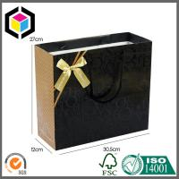 Cotton Handle Matte Black Color Shoes Paper Carrier Bag; Luxury Gift Paper Bag Manufactures