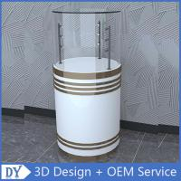 Factory customized good quality fashion round shape wooden white lacquer glass cabinets with led lights