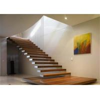 Walnut Wood Treadsmodern Floating Stairs Cable Railing Residential Usage Manufactures
