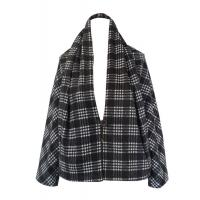 Winter Wool Black and White Checked Jacket Long Sleeve women fall coats Manufactures