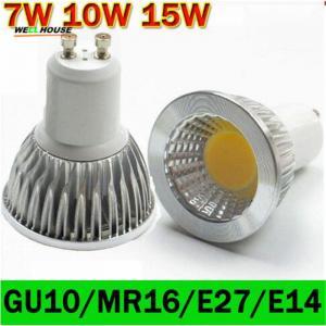 LED lamp GU10 LED Spotlight Dimmable COB LED Bulb 7W 10W 15W Warm White / white 110V/220V GU 10 Bulbs Free shipping 1PCS Manufactures