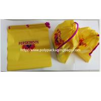 Yellow Color Pvc Custom Plastic Drawstring Bags For Cosmetic / Daily Necessities / Clothes Manufactures
