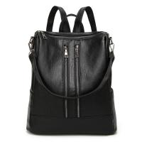 Large Capacity Black Leather Backpack WomensDaily Use With Reinforce Shoulder Straps Manufactures
