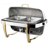Titanium Coating Oblong Chafing Dish Roll Top Lid Gold Legs and Handle 2-Compartment Stainless Steel Food Container Manufactures