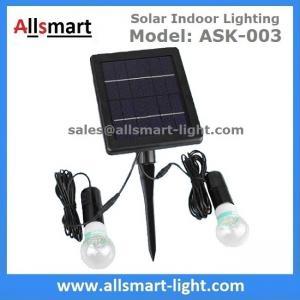 Quality 4000mAH Li-ion Battery 2pcs 3W 20LED Bulbs Solar Home Kits Indoor Lighting DC Solar Garage Barn System 3W Solar Panel for sale
