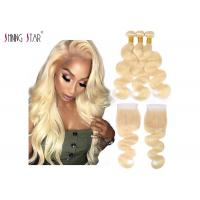 Honey Blonde Human Hair Bundles With Closure Body Wave Brazilian 613 Bundles With Closure Manufactures