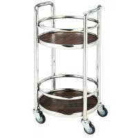 Restaurant Supply Equipment 2 Layer Liquor Trolley Round With 4 Swivel Castors Manufactures
