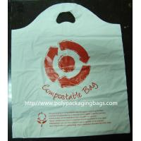 Quality 100% Compostable Plastic Bags Die Cut Shopping Bag in White for sale