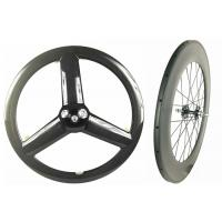 Quality Glossy 700C Rear 88mm Track Wheels Light Weight Anti Pull With Full Carbon Fiber for sale