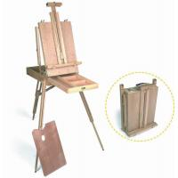Wooden Painting Easel Art Stand , French Sketch Box Easel With Palette Belt Aluminium Tray Manufactures