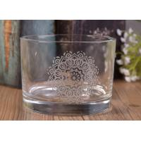 12Oz Round Shape Decal Glass Candle Jar For Decor , In Stock Glass Votive Candle Holders Manufactures
