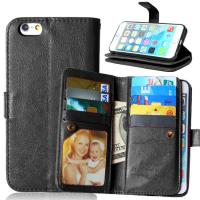 China iPhone 5 5S 6 6S Plus Wallet Case Retro Cover Bags Case Pouch 9 Cards Slot Holder Pocket on sale