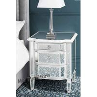 Leonore Mirrored Dresser And Nightstand , White Mirrored Bedside Cabinets Manufactures