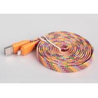 Flexible Flat Charging Cable With Multicolor High Gloss Textile , Micro USB Manufactures