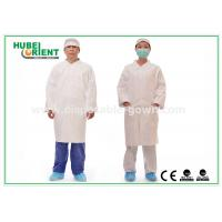 Tyvek disposable white lab coats , medical protective clothing Korean Collar and Zip Manufactures