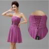 HOT SALE Purple Strapless Off Shoulder Short Prom Dress 2014 Lace-up Beaded Flower Mini Dress Vestido De Festa Manufactures