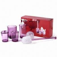 Bath Set, Customized Designs and Colors are Accepted, Measures 34.8 x 10.8 x 20cm Manufactures