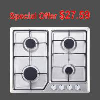 Built In Stainless Steel Kitchen Gas Hob With Cast Iron Pan Supports / Auto Igntion Manufactures
