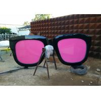Quality Metal Sculpture Art Giant Sunglasses Sculpture Stainless Steel With Pink Glasses for sale